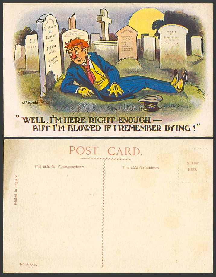 Donald McGill Old Postcard Cemetery Graves Drunk Blowed If I Remember Dying A332