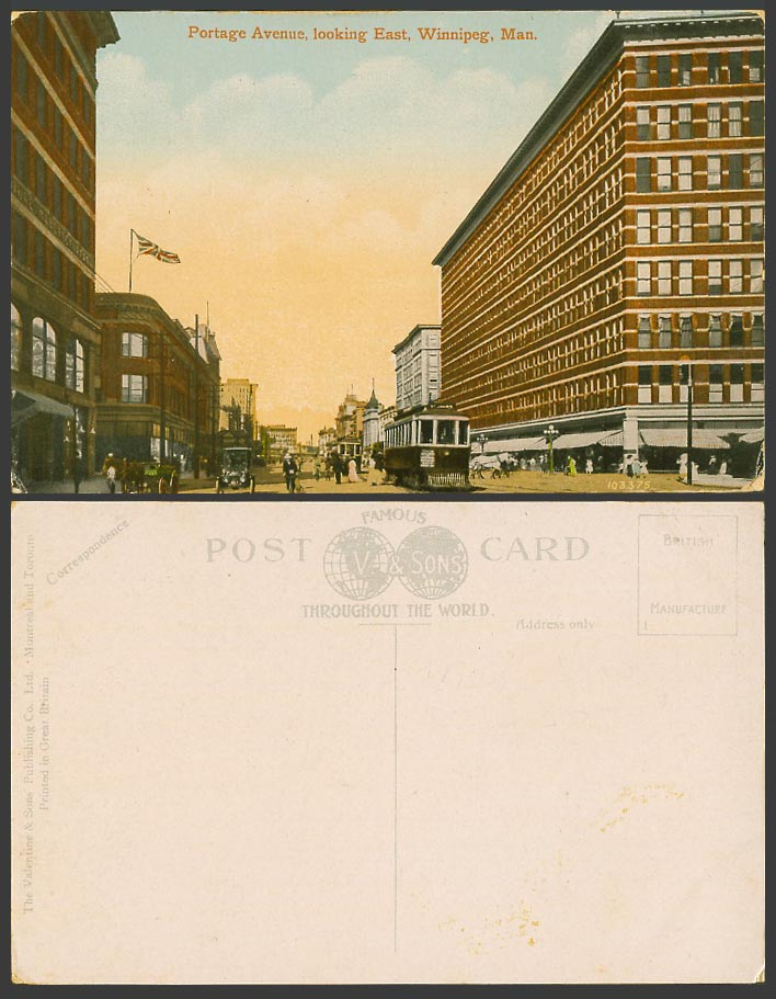 Canada Old Postcard Portage Avenue Looking East, Winnipeg Man. TRAM Street Scene