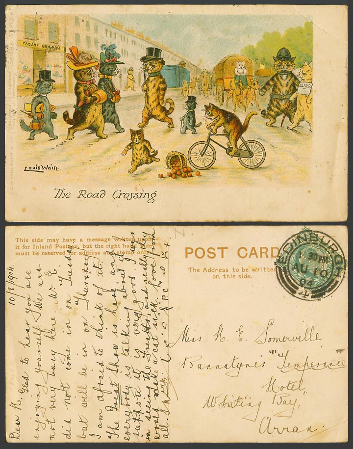 Louis Wain Artist Signed Cats The Road Crossing Police & Blind 1904 Old Postcard