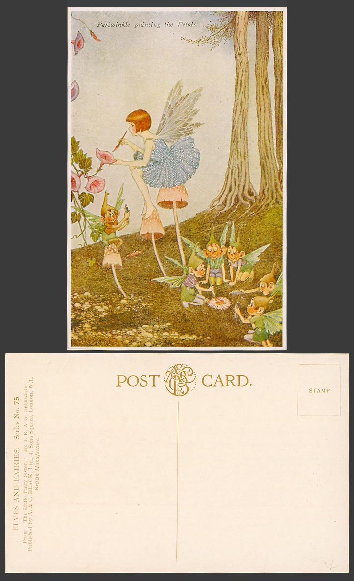 I.R. & G OUTHWAITE Old Postcard Periwinkle Painting Petals Elves Fairy Sister 75
