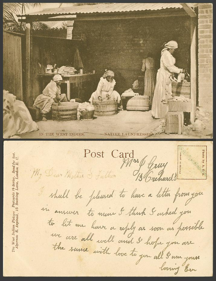 West Indies Native Laundresses West Indian Washerwomen Washer Women Old Postcard