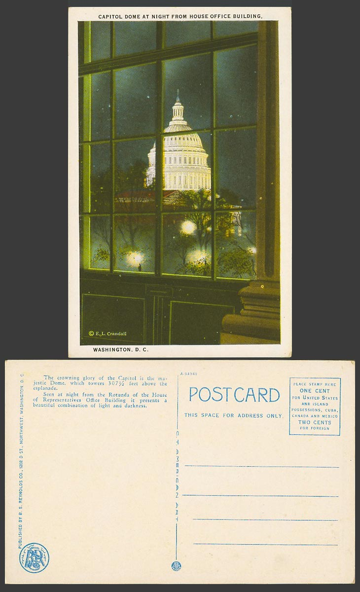 USA Old Postcard Capitol Dome at Night from House Office Building Washington D.C