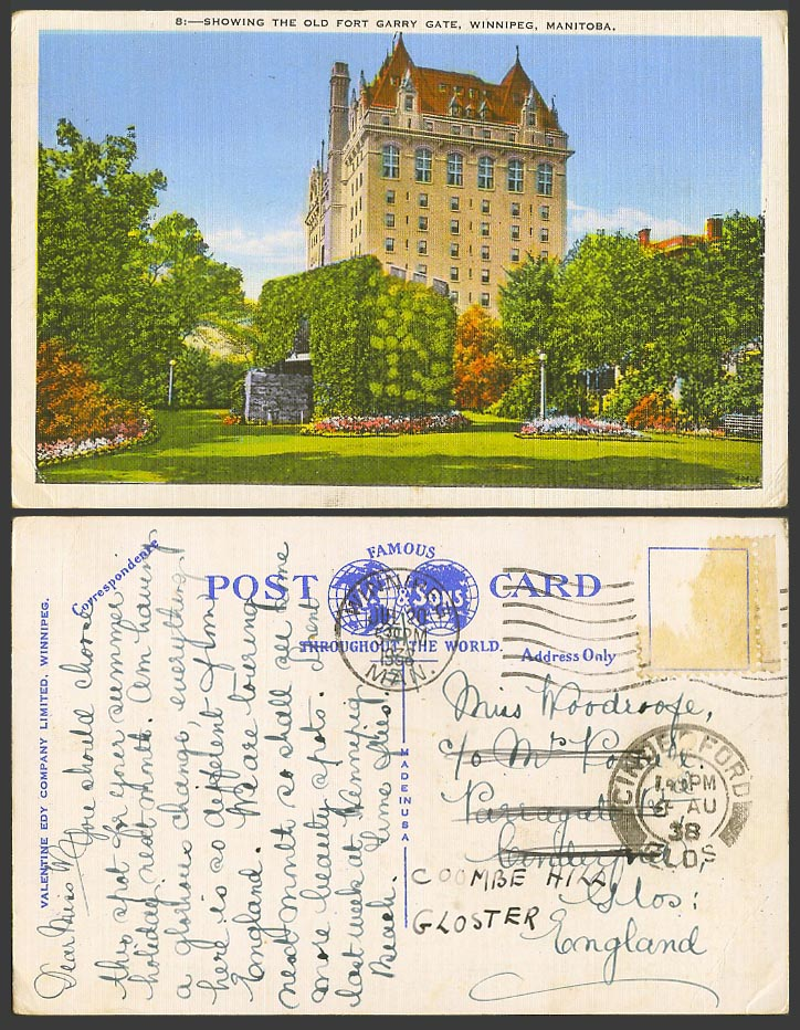 Canada 1938 Vintage Colour Postcard The Old Fort Garry Gate, Winnipeg, Manitoba