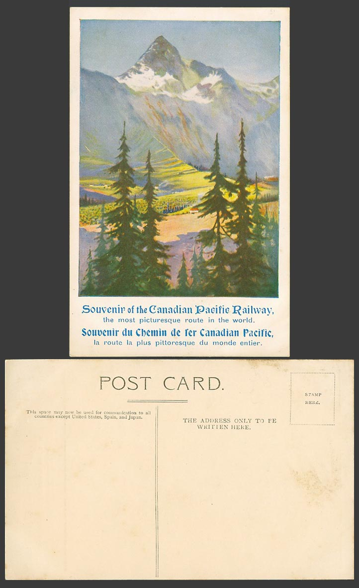 Canada Old Postcard Canadian Pacific Railway Most picturesque route in The World