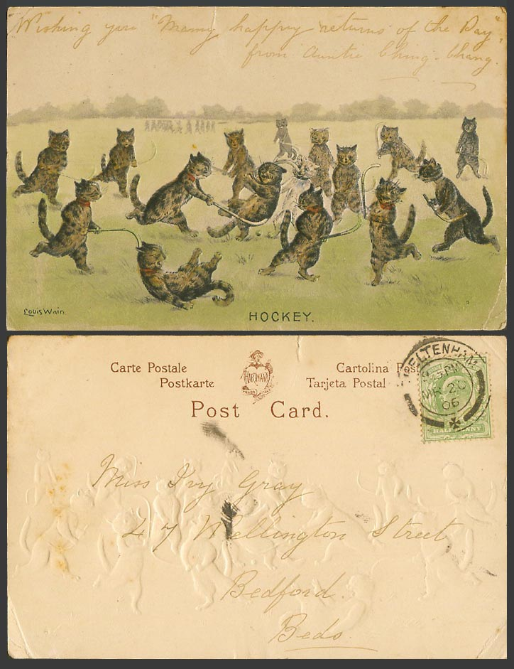LOUIS WAIN Artist Signed Cats Kittens Playing Hockey 1906 Old Postcard Sport Art