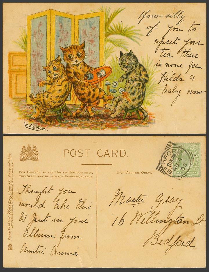LOUIS WAIN Cats Kittens, How Silly of You to Tuck's Write Away 1905 Old Postcard