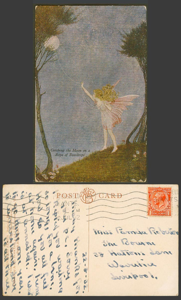 IR OUTHWAITE 1932 Old Postcard Fairy Girl Catching Moon on a Rope of Dewdrops 72