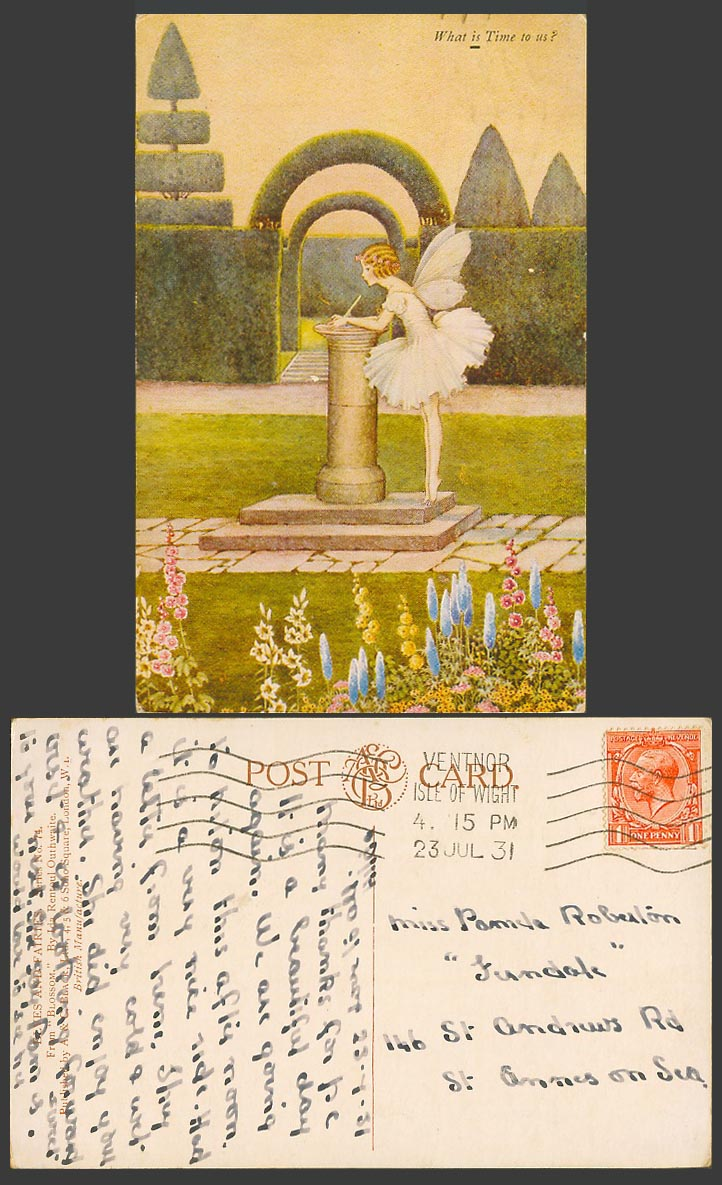 I R OUTHWAITE 1931 Old Postcard FAIRY GIRL SUNDIAL BLOSSOM What is Time To Us 74