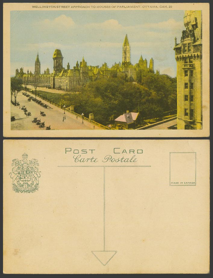 Canada Old Colour Postcard Wellington Street appr to Houses of Parliament Ottawa