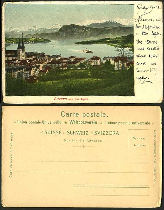Swiss 1911 Postcard LUCERNE ALPS Aerial View SHIP LAKE
