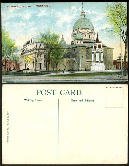 Canada Old Postcard Trees St. James Cathedral Montreal