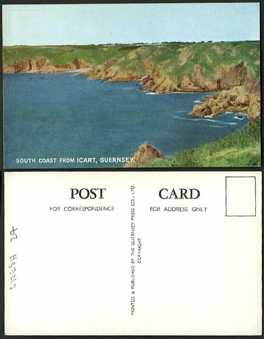 Guernsey Channel Islands Old Postcard South Coast ICART