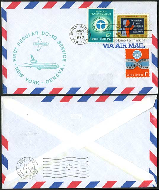 United Nations NY 1973 Swissair DC10 First Flight Cover