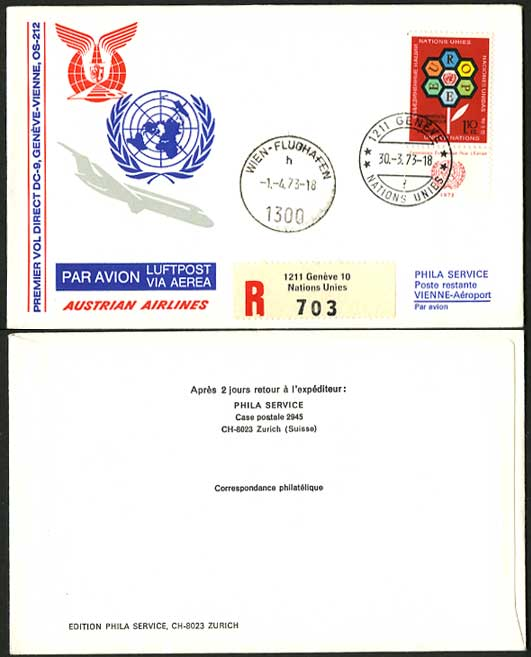 United Nations 1973 Austrian Airlines 212 Flight Cover