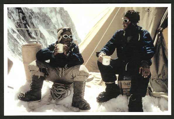 Mt. EVEREST Expedition 1953 Postcard Edmund Hillary Tenzing Norgay Tea at Camp 4