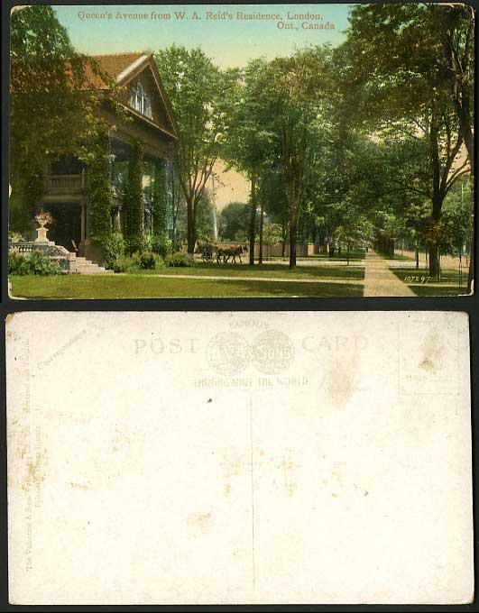 Canada Old Hand Tinted Postcard Queen's Ave LONDON Ont.