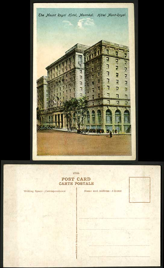 Canada Old Tinted Postcard - Mount Royal HOTEL Montreal