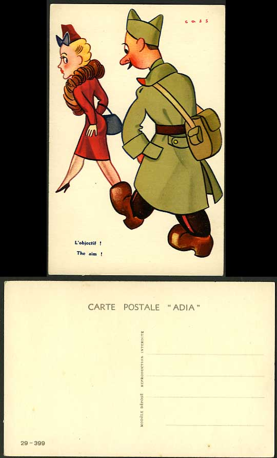Humour Comic Old ADIA Postcard The Aim L'objectif Cass Man stalking a Woman