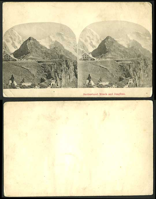 Switzerland Old Multiview Card Monch Mountains JUNGFRAU