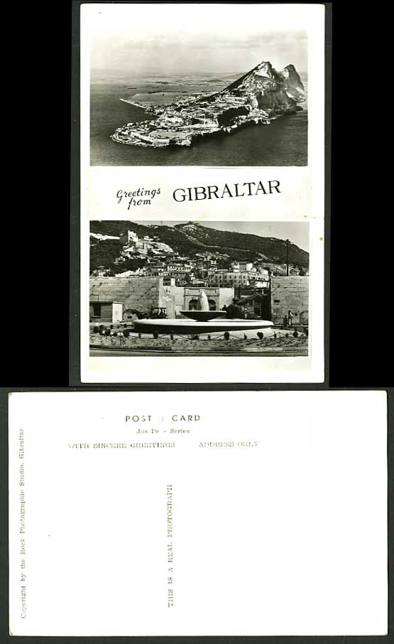 Greetings from Gibraltar Multiview Postcard Aerial View