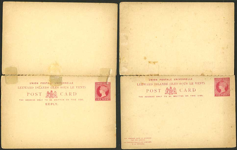 LEEWARD ISLANDS QV Postal Stationery Card 1d + Reply 1d