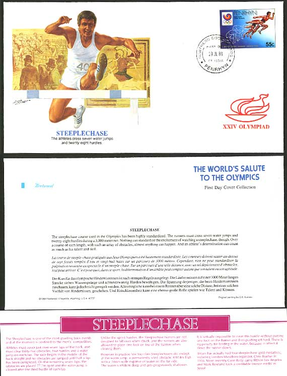 STEEPLECHASE Penrhyn Cook Islands 1988 Olympic Game First Day Cover FDC F.D.C.