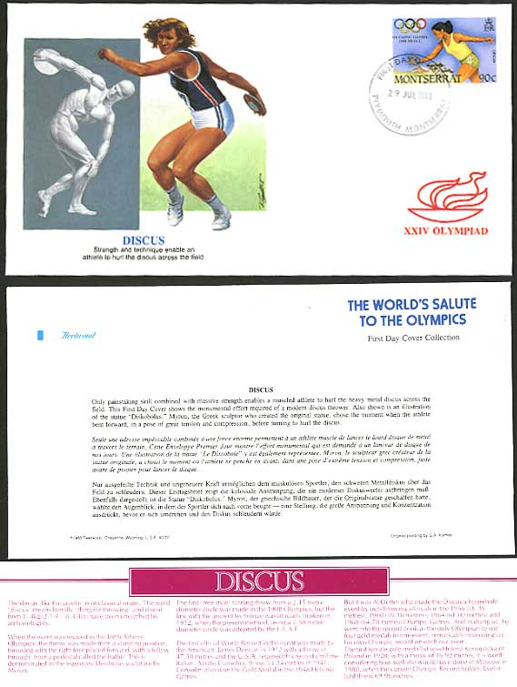 DISCUS Montserrat 90c 1988 Olympic Game First Day Cover