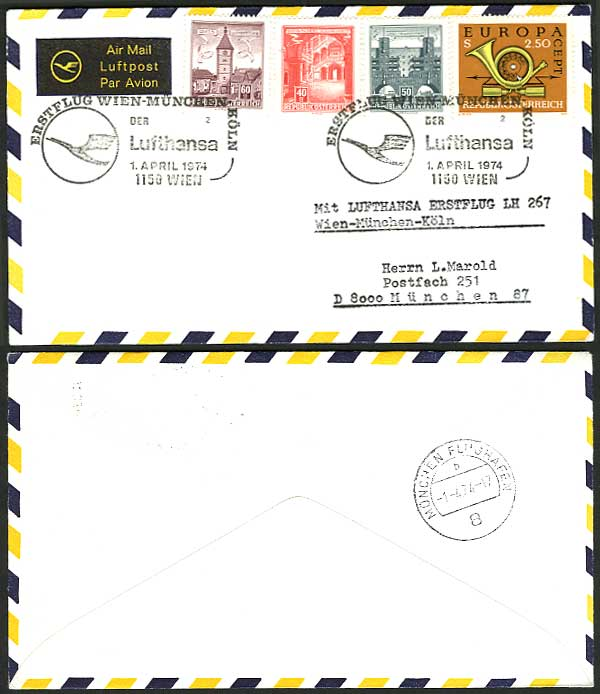 Austria Munich 1974 German Lufthansa First Flight Cover