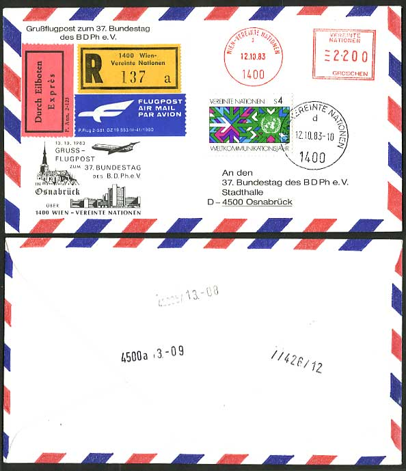 United Nations Vienna Germany 1983 EXPRESS Flight Cover