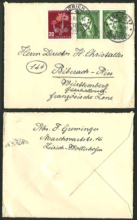 Switzerland 1947 Rodolphe Toepffer & Houseleek on Cover