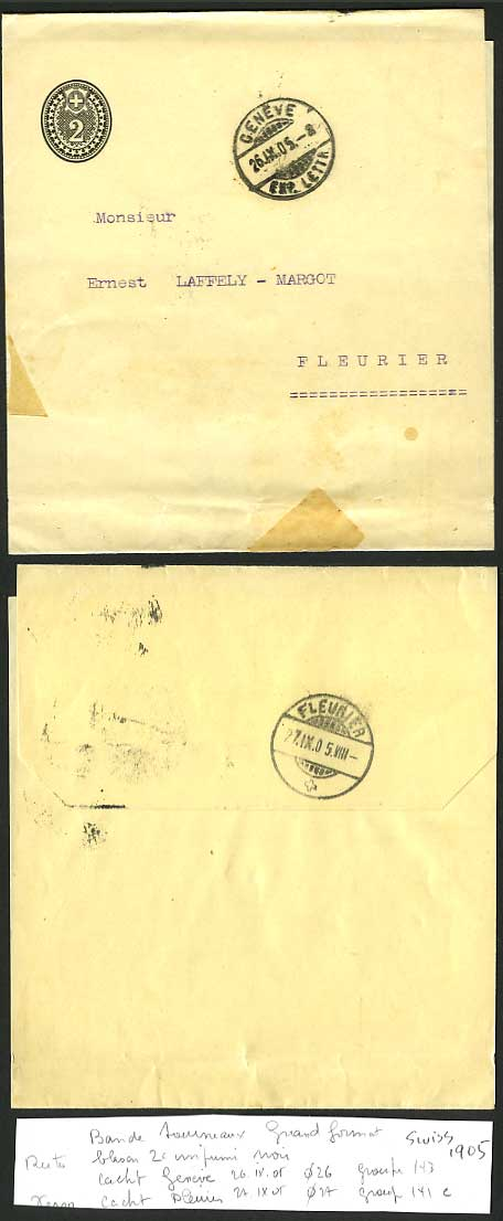 Switzerland 1905 Old Postal Stationery Wrapper 2c Black