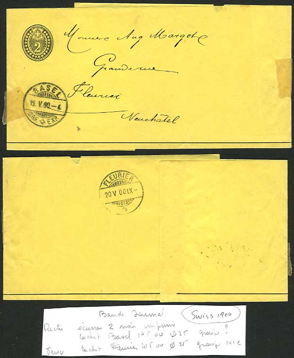 Switzerland Basel 1900 Old Postal Stationery Wrapper 2c