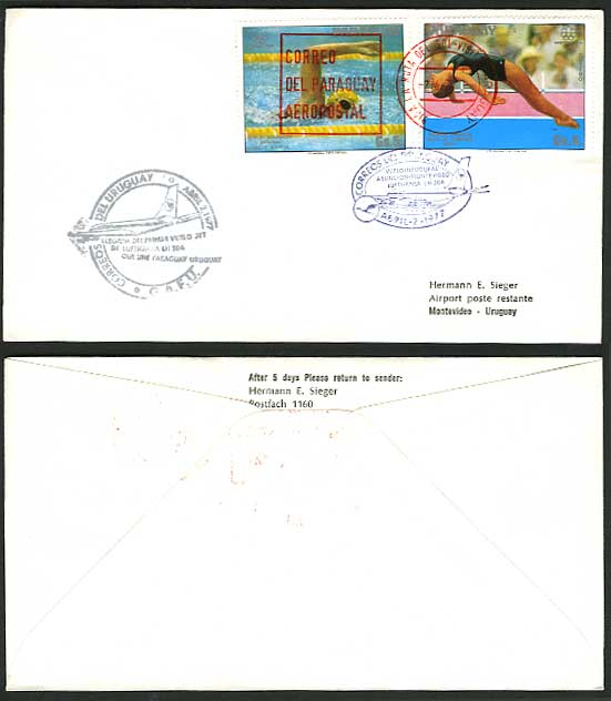 Paraguay Swimming 1977 Lufthansa 506 First Flight Cover