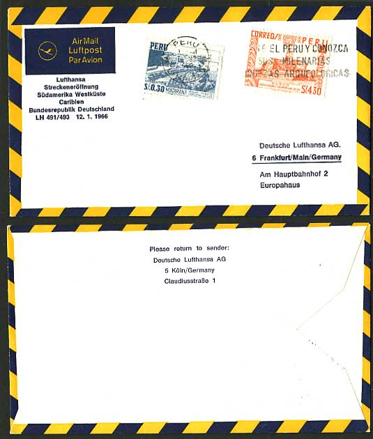 PERU Frankfurt 1966 German LUFTHANSA FIRST FLIGHT COVER