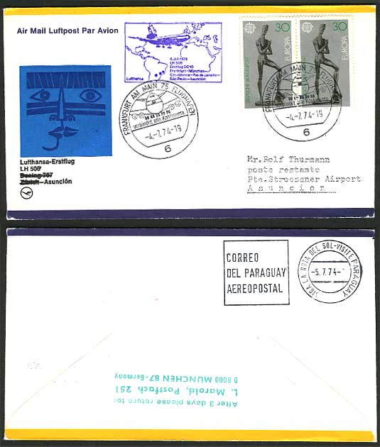 Germany - Paraguay 1974 Lufthansa - First Flight Cover