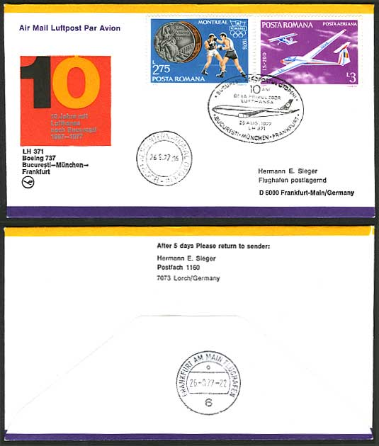 Romania Germany 1977 Lufthansa 10yrs First Flight Cover