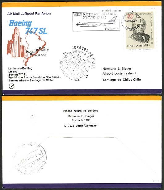 Argentina CHILE 1980 Lufthansa LH502 First Flight Cover