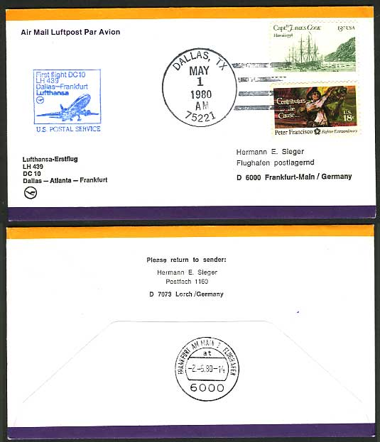 USA James Cook Hawaii 1980 LUFTHANSA First Flight Cover
