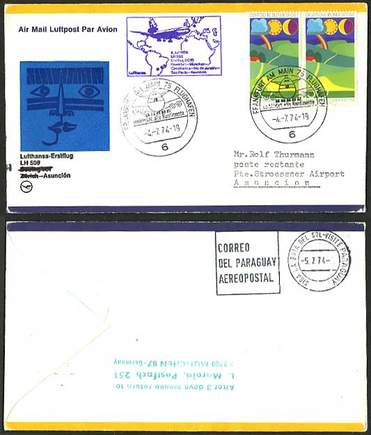 Germany - Asuncion 1974 Lufthansa - First Flight Cover
