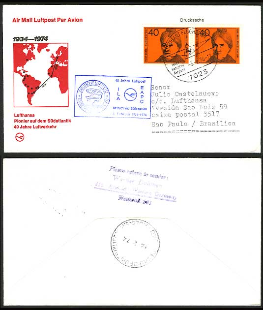 Germany Brazil 1974 LUFTHANSA 40 yrs First Flight Cover