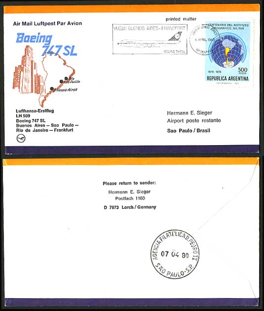 Argentina Brazil 1980 LUFTHANSA 509 First Flight Cover