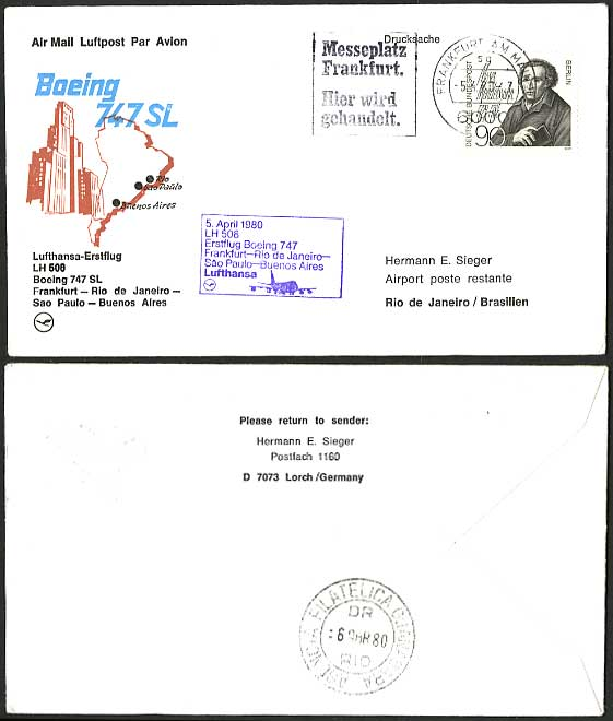 Frankfurt Brazil 1980 LUFTHANSA 508 First Flight Cover