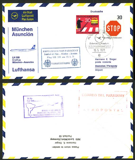Germany Asuncion 1971 Lufthansa 508 First Flight Cover