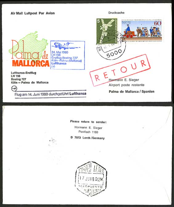 Spain Mallorca 1980 German LUFTHANSA First FLIGHT Cover