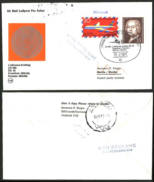 Germany Merida Mexico 1975 LUFTHANSA First Flight Cover