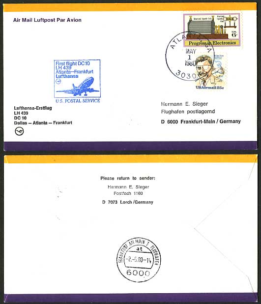 USA - Germany 1980 LUFTHANSA LH 439 First Flight Cover