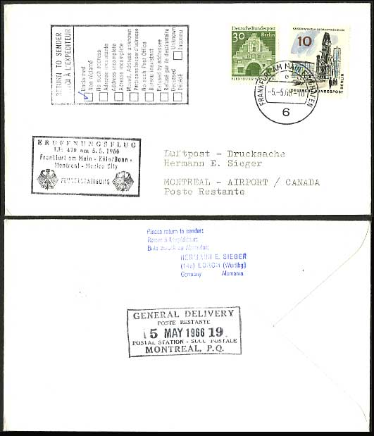 Germany Canada 1966 Lufthansa LH 470 First Flight Cover