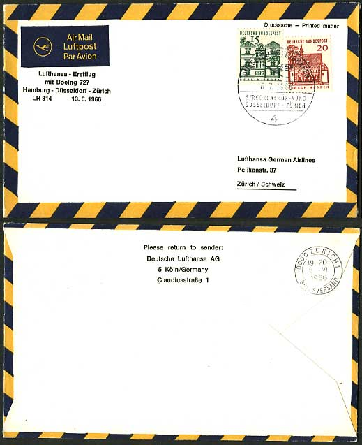 Germany - Switzerland 1966 LUFTHANSA First Flight Cover