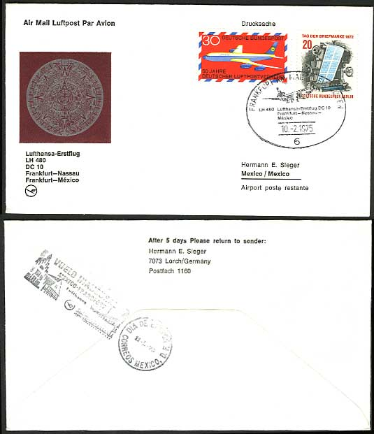 Germany Mexico 1975 LUFTHANSA LH 480 First Flight Cover