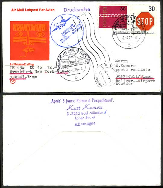 Germany Guayaquil 1975 LUFTHANSA 498 First Flight Cover